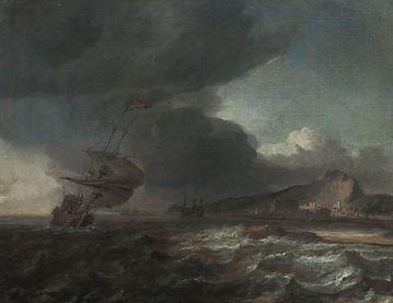 """Картины голландских художников. Ян Бланкерхоф """"Парусник у побережья Средиземного моря"""""""