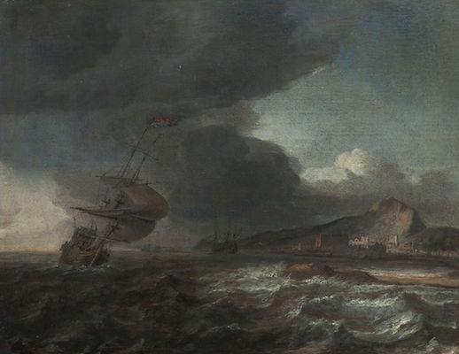Старинная картина маслом известного голландского художника Бланкерхофа, морской пейзаж, голландская живопись 17 века, антиквариат