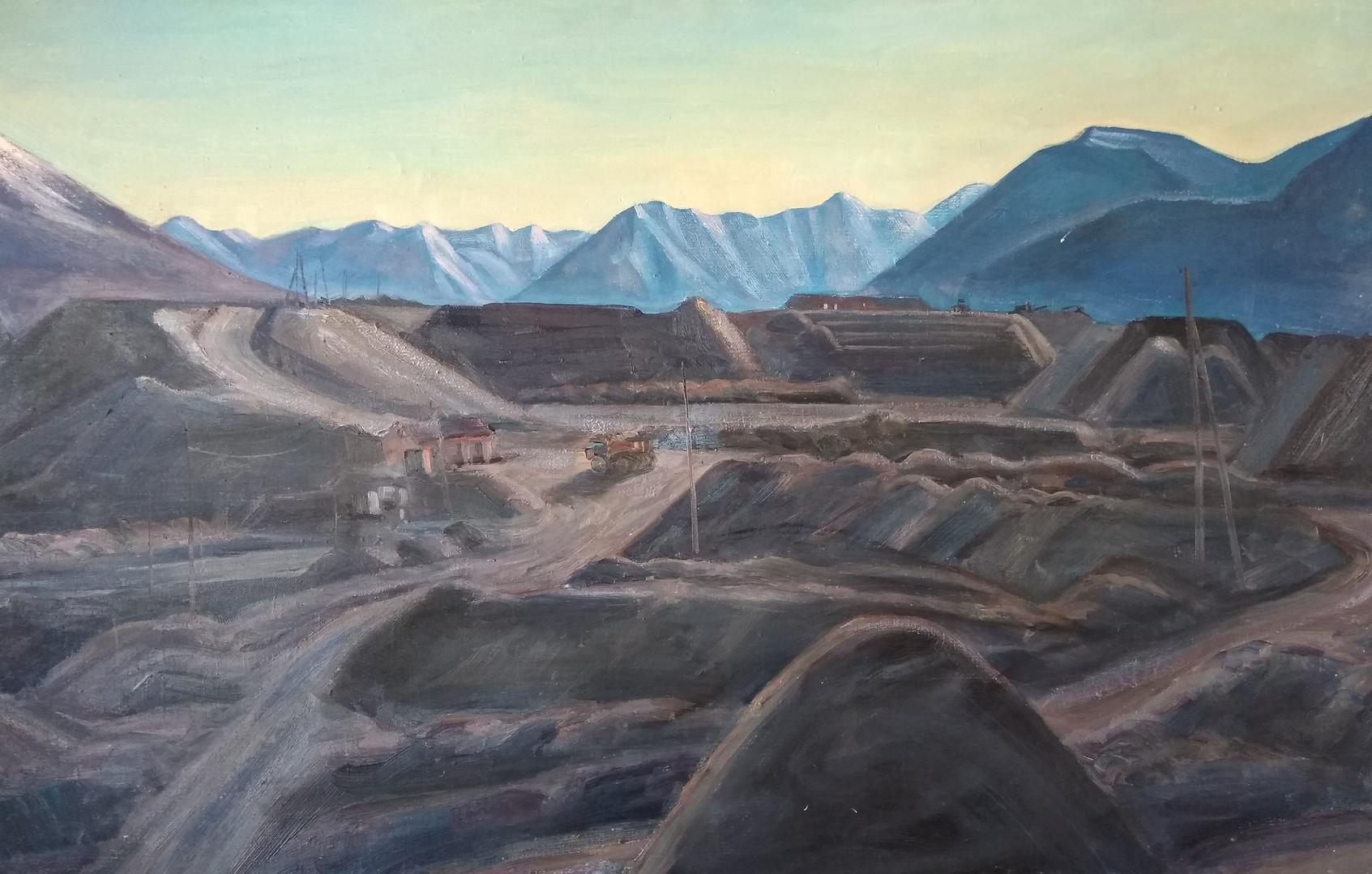 """Афанасий Осипов """"Отвалы разреза"""", 1986 Холст, масло. 68,4 х 108,3 см"""