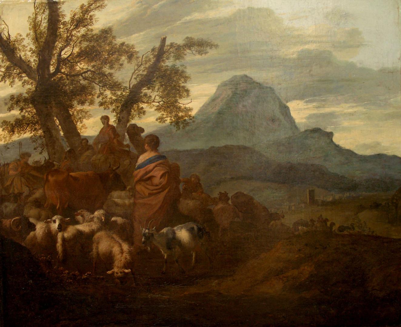 """Симон ван дер Дус """"Пейзаж со сценой исхода Израильтян из Египта"""", 1690-е Холст, масло. 45,5 х 55 см"""