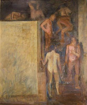 Купить картину московского художника Олега Филиппова Сандуны про московскую городскую баню