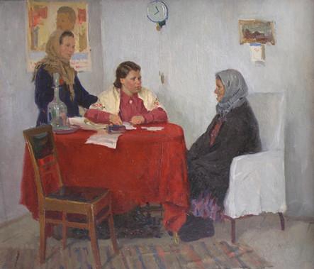 """Михаил Куприянов """"У депутатки"""", 1953 Холст, масло. 43 х 51 см"""