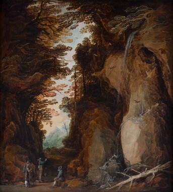"""Йоос де Момпер """"Скалистый пейзаж с тремя отдыхающими путниками"""", 1630-е Дерево (дуб), масло. 63,7 х 57 см"""