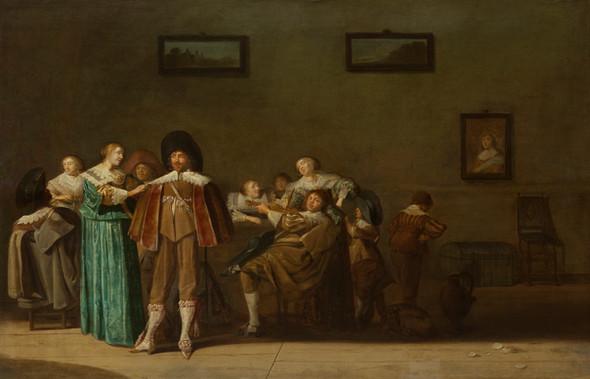 """Дирк Халс """"Весёлое общество"""", 1640 Дерево (дуб), масло. 50,8 х 78,5 см"""