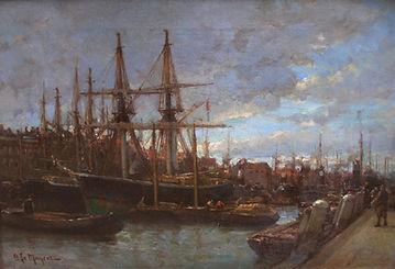 Купить картину художника-импрессиониста. Адриан де Майер Корабли в порту, 1900-е