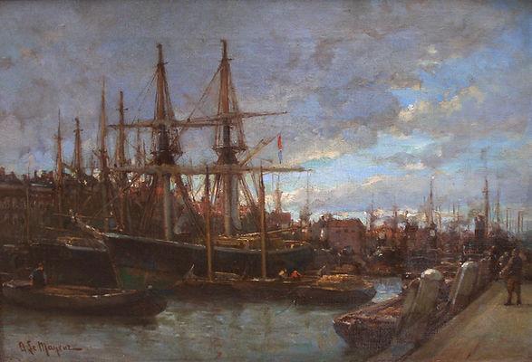 Купить картину 19 века, импрессионизм | москва | галерея вобликова - майер, Картина маслом известного французского художника импрессиониста Майера, пейзаж, живопись, вид на порт