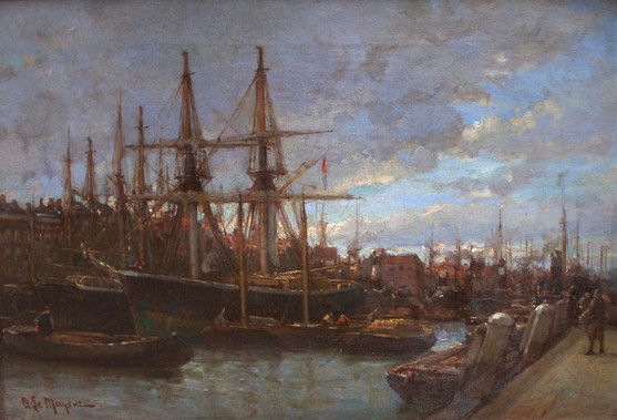 "Адриан де Майер ""Корабли в порту"", 1900-е Холст, масло. 24 х 32 см"