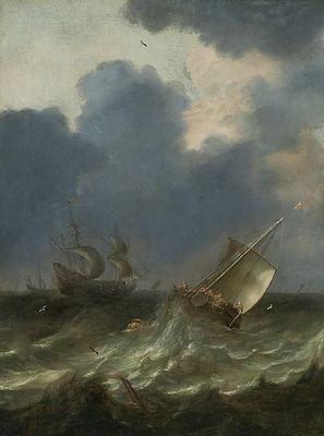 Старинная картина маслом известного голландского художника 17 века Питера Мюлира Старшего, морской пейзаж, голландская живопись 17 века, антиквариат