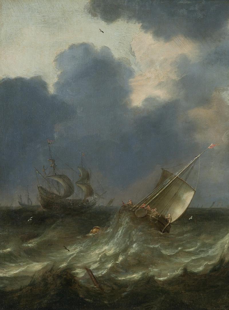"Питер Мюлир Старший ""Суда в штормящем море"", 1660-е Холст, масло. 50,2 х 38,2 см"