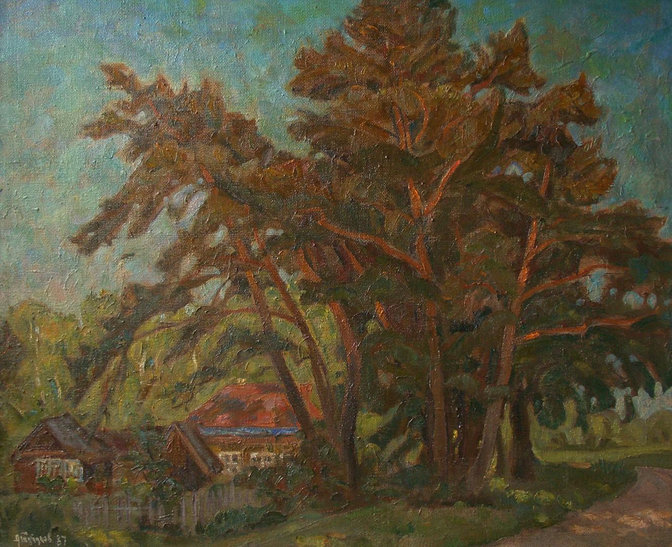 "Андрей Тутунов ""Въезд в деревню Прилуки"", 1987 Холст, масло. 70 х 90 см"