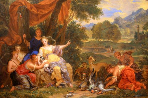 "Виктор Оноре Янсенс ""Диана с нимфами в лесном пейзаже"", 1675-1736 Дерево (дуб), масло. 28,2 х 41 см"