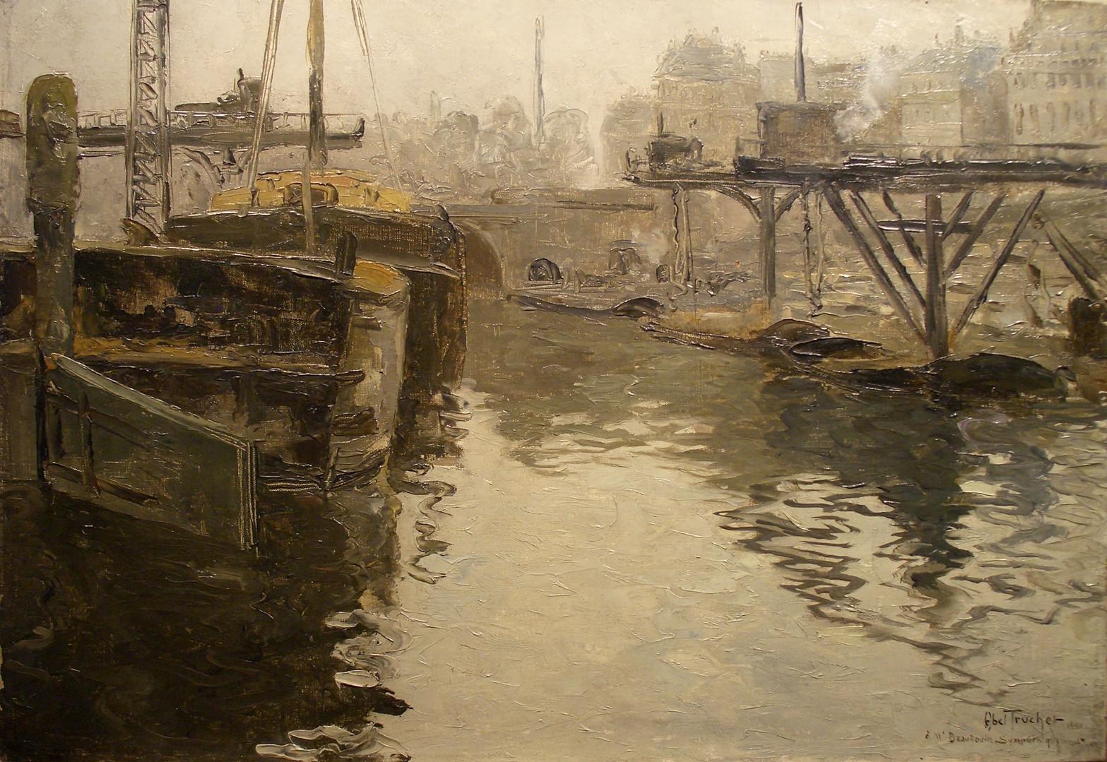 """Луи Абель-Трюше """"Париж. Баржи на реке Сена"""", 1901 Холст, масло. 38 х 55 см"""