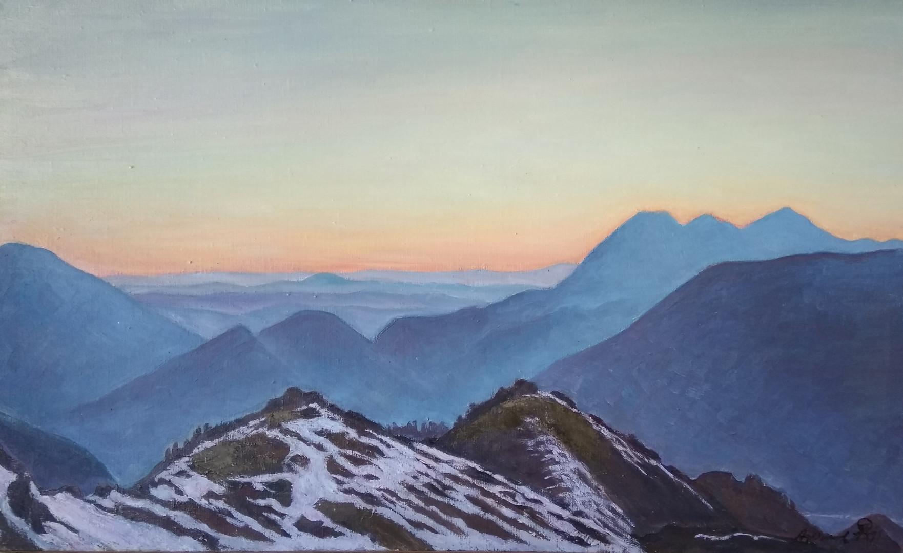 """Афанасий Осипов """"Зори на вершинах"""", 1992 Холст, масло. 63 х 103 см"""
