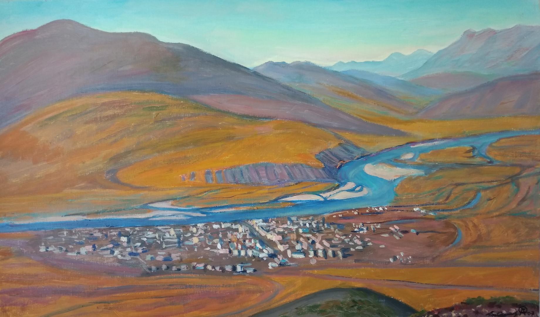 """Афанасий Осипов """"Усть-Нера. Посёлок на Индигирке"""", 2007 Холст, масло. 60 х 100 см"""