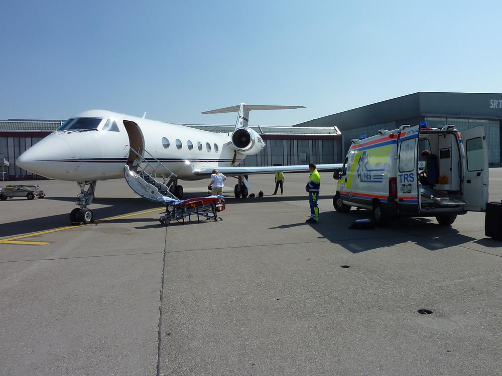 Private Air Ambulance Gulfstream GV Ground Ambulance Emergency