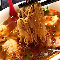 Hot n Mild spiced wonton egg noodle soup with shrimp n pork combo dumplings.