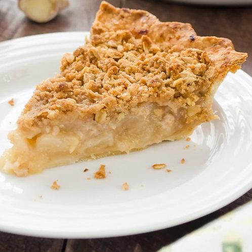 Bourbon pear crumble pie