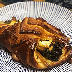 Roasted chard, goat cheese, and pine nut croissant