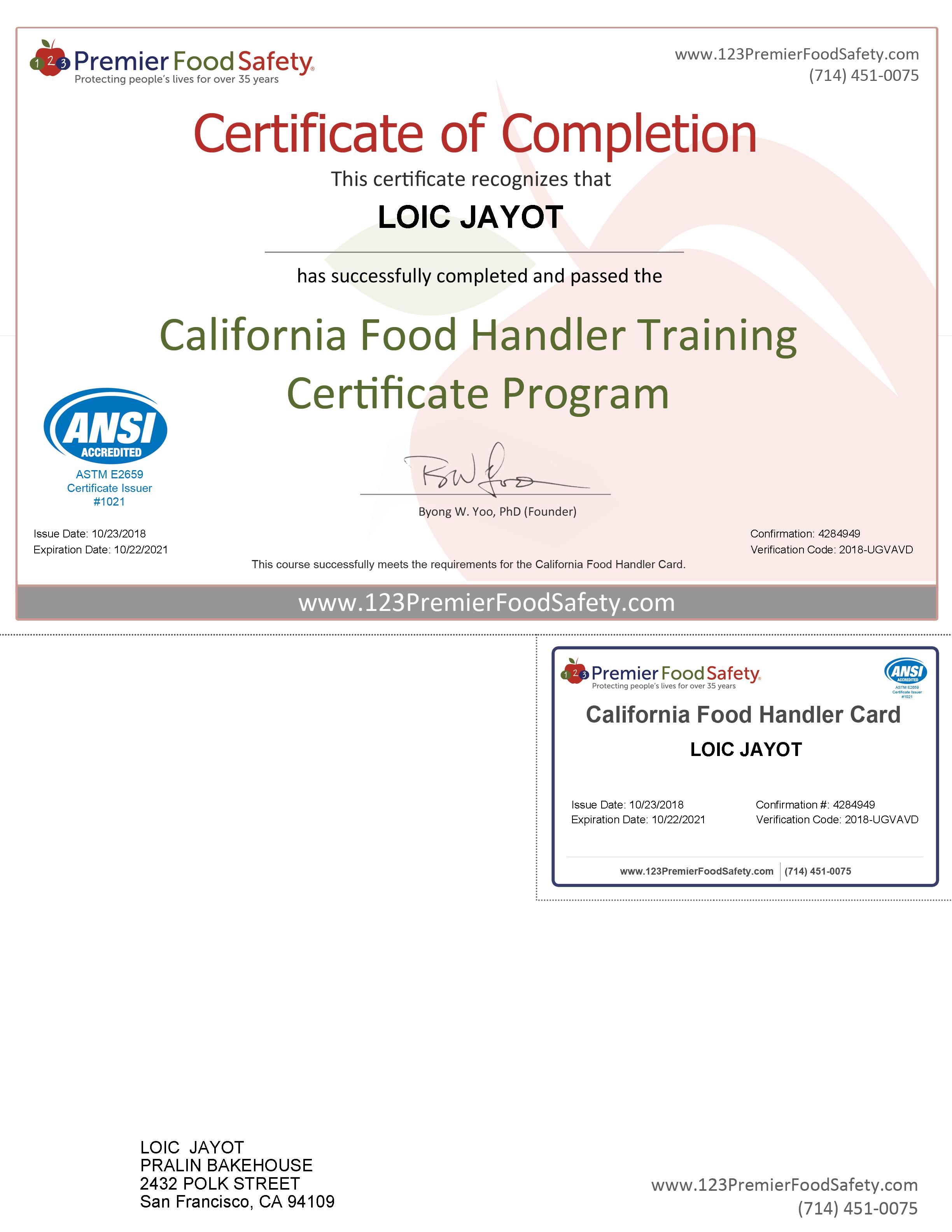 FoodHandlerCertificate