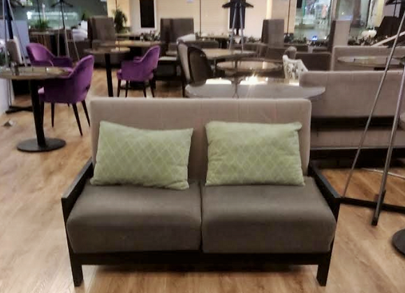 Диван БЕЖ-ОЛИВА (БУК) с подушками 130см.