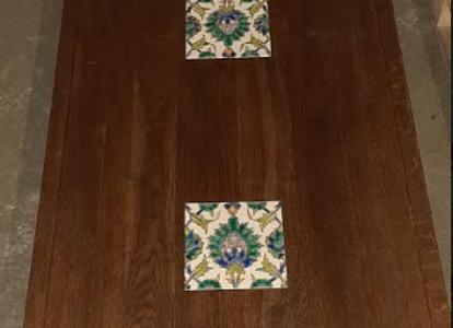 Столешница дубовая со вставками-плитка 140х80