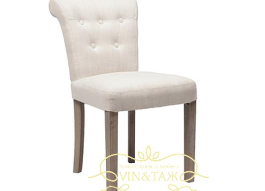 Мягкий белый стул на винтажных ножках