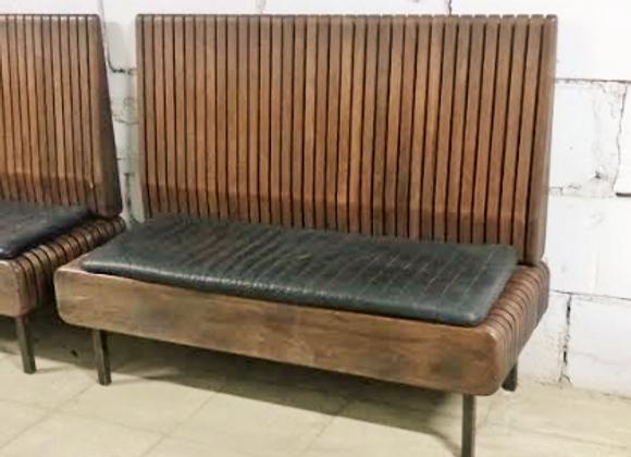 Дизайнерская скамейка с подушкой (массив,нат.кожа) 140 см.