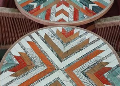 Столешница деревянная мозаика d-70 см.