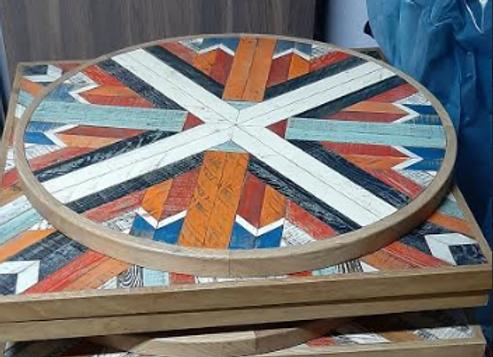 Столешница деревянная мозаика d-80 см.