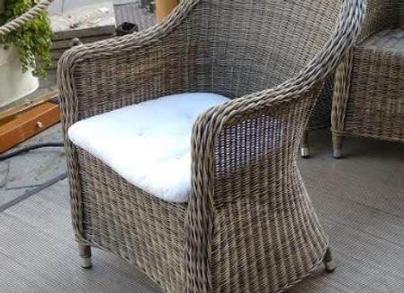 Кресло Равенна соломенного цвета с подушкой