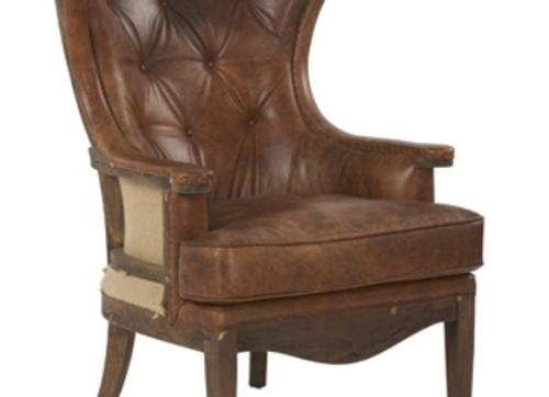 Винтажное кресло с открытой спинкой (нат.кожа)