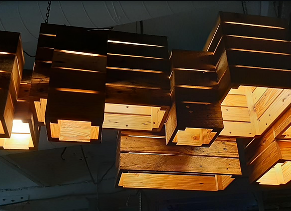 """Лофт люстра""""Пирамида ящики"""" 17 ламп 120х57см."""