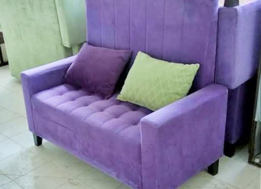 Диван высокий Велюр с подушками-фиолетовый 130см.