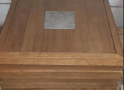 Столешница массив дуба с керамической вставкой 80х80
