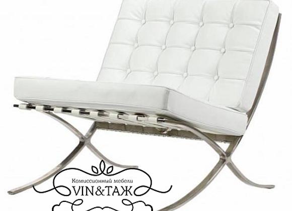 Кресло Barcelona Chair, белая экокожа