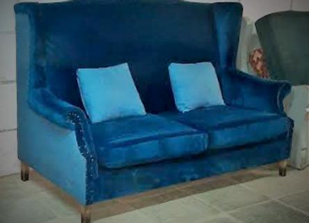 Диван с подушками (синий)