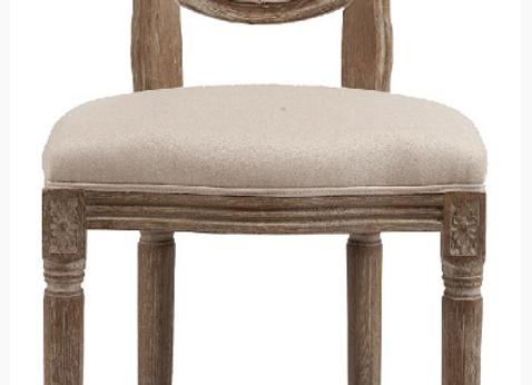 """"""" К.М.ВИНТАЖ"""". Барный стул Vintage French Round  кремовый лен (мягкая спинка)"""
