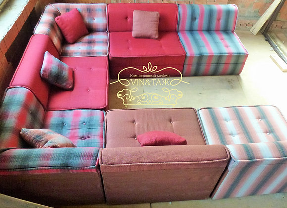 Модульный диван с подушками 300х300см.