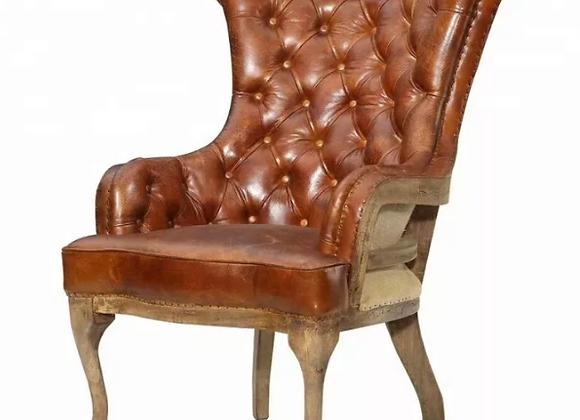 Каминное кресло с высокой спинкой (нат.кожа)