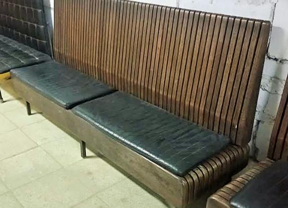 Дизайнерская скамейка с подушкой (массив,нат.кожа) 215 см.