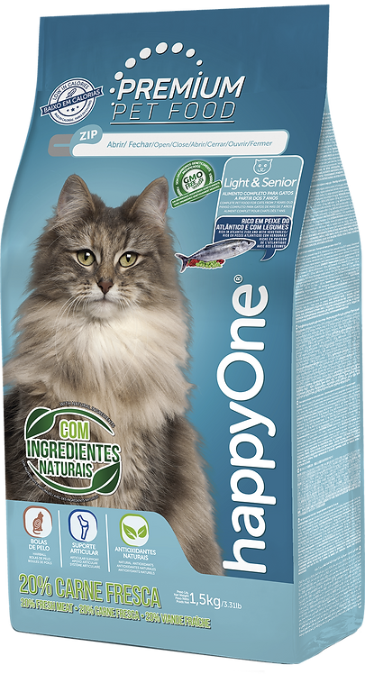 Alimento HappyOne Premium Light and Sénior para Gatos 1,5kg