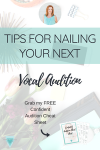 Are you Broadway bound? Let me help you nail your vocal audition with my vocal audition tips. Repin and grab my Confident Audition Cheat Sheet!
