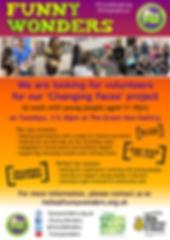 Funny Wonders' Changing Faces 2018 volunteers leaflet