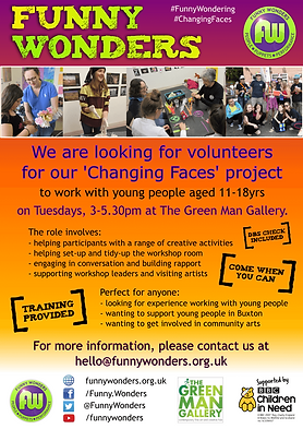 Funny Wonders' recruitment poster for volunteers for their Changing Faces 2018 project