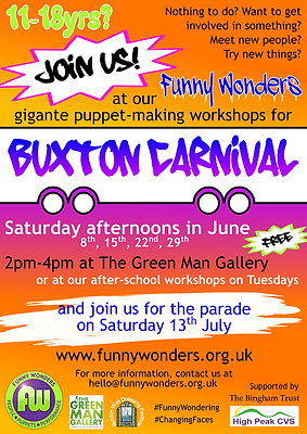Funny Wonders' Buxton Carnival 2019 making workshops leaflet