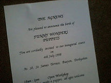 Promotional leaflet for Funny Wonders' inaugural event on 4 July 1998