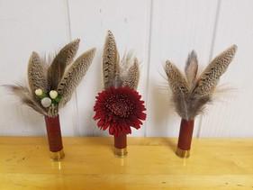 Shot Gun Shells & Pheasant Feathers Boutonnieres