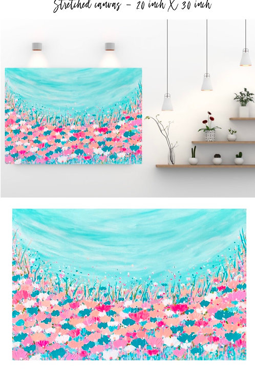 Pastel blooms (blue) large - 30x20 inches