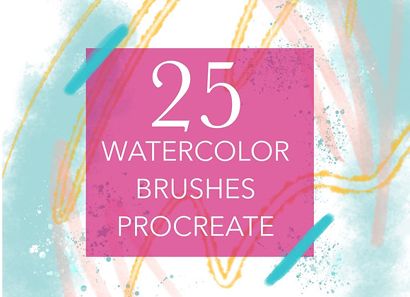 25 watercolour brushes - Procreate by Viddhi