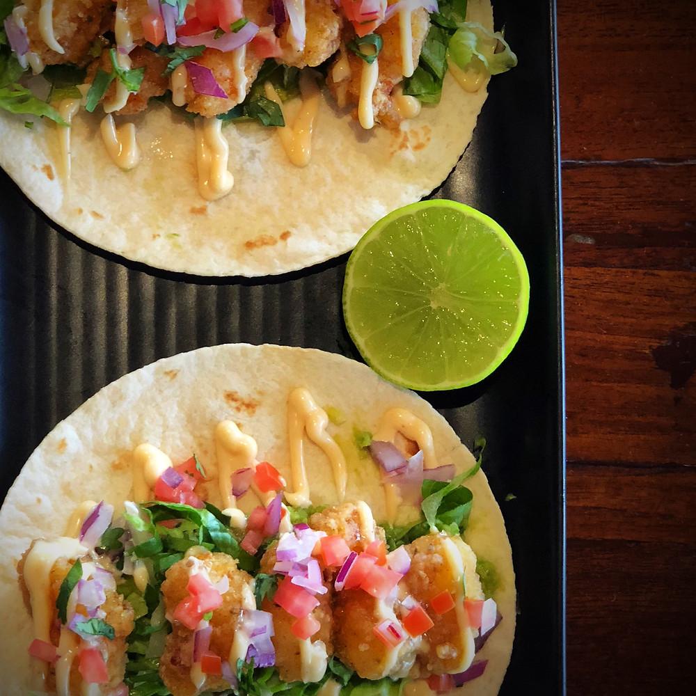 Popcorn Shrimp Tacos - this week's special at Koi Restaurant Broadbeach